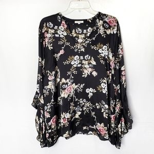 Maurices Black Floral Ruffle Sleeve Blouse Top 2X